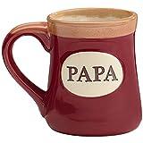 Papa Best Job Ever Porcelain Burgundy Coffee Tea Mug Cup 18oz Gift Box