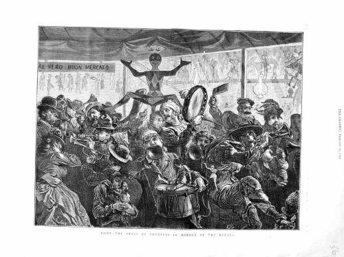 Old Antique Victorian Print originale 1872 di Roma trombe Music Italia Honour Befana persone