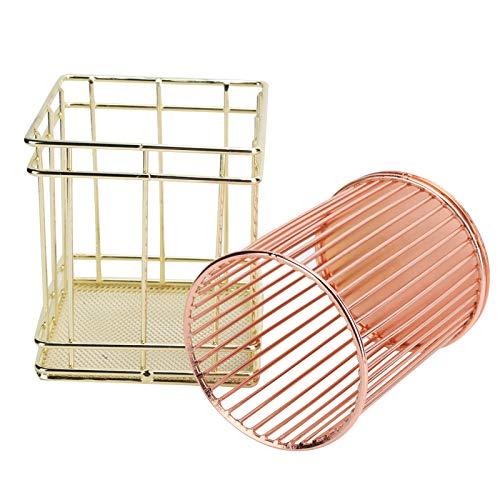 Wosune Portavasos del lápiz del Cepillo del Maquillaje del Alambre de Metal, tecnología del Chapado en Oro del Tenedor de la Pluma Hueco para Artiste para el hogar