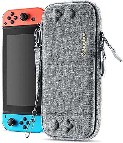 tomtoc Étui Mince pour Nintendo Switch, Étui Original pour Console de Nintendo Switch, Housse de Transport Rigide avec 10 Emplacements pour Cartes de Jeu, Gris