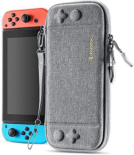 JOYSKY Funda Ultra Delgada para Nintendo Switch, Patente Original Estuche Rígido con más Espacio de Almacenamiento para 10 Cartuchos, Case de Transporte con Protección de Estándar Militar(Gris)