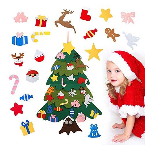 Anyingkai Albero Feltro Natale,Albero di Natale in Feltro con Addobbi,Albero di Natale in Feltro Fai da Te,Feltro Albero di Natale per Bambini (A-B)