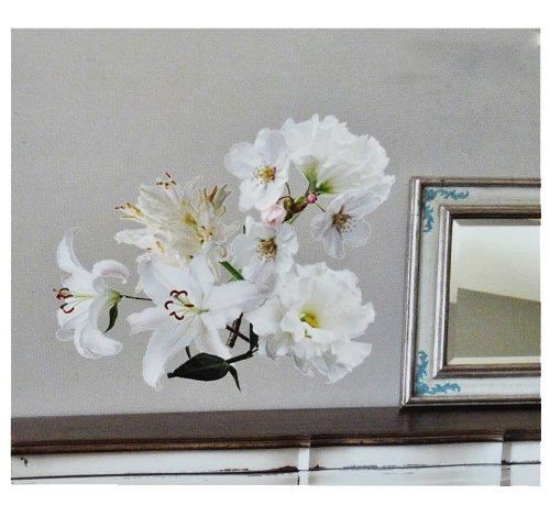 alles-meine.de GmbH XXL Wandtattoo / Sticker - Kirschblüten weiße Blüten mit Stengel - Blüte Blumen Lilie - selbstklebend für Wohnzimmer und Deko Wandsticker Aufkleber