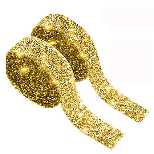 SmithCOCO 2PCS 8.6 Yards Crystal Rhinestone Ribbon, DIY Self-Adhesive Diamond Sparkling Bling Ribbons for Wedding Cakes Birthday Crafts Decorations, Gold (1.5cm/0.59inch Width +2cm/0.79inch Widt£