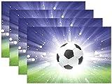 Pallone Da Calcio Sport Erba Verde Tovaglietta Luminosa Tovaglietta Tovaglietta In Poliestere Tovaglietta Per Cucina Sala Da Pranzo Set Di30 Cm X 45 Cm (12 Pollici X 18 Pollici) 6 Pezzi