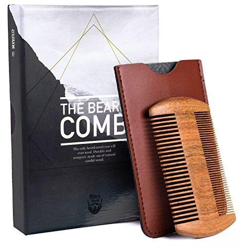 Premium Peines Arista de Madera para el Pelo y Barba - Madera de sándalo Anti Estático, de Bolsillo, para la Barba - Ideal para Usar con Aceite de Barba, Bálsamo - 2 Años de Garantíase
