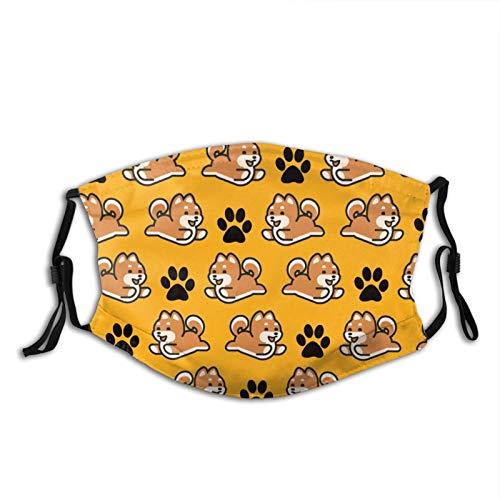 Cute Shiba Inu Glasses Dog Face Mask With Filter Pocket Washable Reusable Face Bandanas Balaclava With 2 Pcs Filters