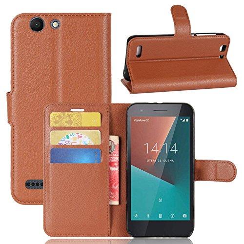Tasche für Vodafone Smart E8 Hülle , Ycloud PU Kunstleder Ledertasche Flip Cover Wallet Hülle Handyhülle mit Stand Function Credit Card Slots Bookstyle Purse Design braun
