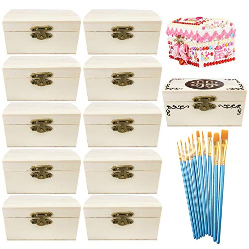Cooyeah 12 Piece Unfinished Wood Treasure Chest Decorate Wooden Mini Treasure...
