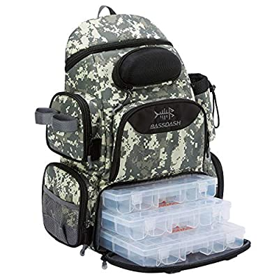 Bassdash Fishing Tackle Backpack Water Resistant Lightweight Tactical Bag Soft Tackle Box with Rod Holder and Protective Rain Cover (Jungle Camo Backpack [3600] with 3 Trays)