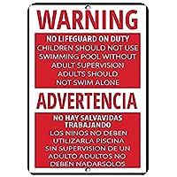 ガレージアートメタルサインの警告ライフガードの子供は大人の注意を払ってプールを使用しない、ビンテージの外観の再現屋内および屋外での使用が簡単なガレージ用のアルミニウムメタルサイン