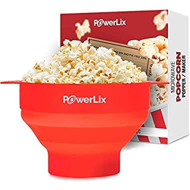 PowerLix Microwave Popcorn Popper, Collapsible Silicone Bowl, Hot Air Popcorn Maker, Healthy Machine No Oil Needed, BPA PVC Free With Lid AND Convenient Handles - Free e-Book Include