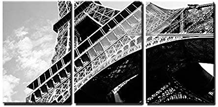 wall26-3 Piece Canvas Wall Art - Detailed Bottom View of Eiffel Tower, Paris, Black and White Image - Modern Home Art Stre...