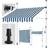 tillvex Klemmmarkise 300 cm Blau-Weiß mit Handkurbel Balkon | Balkonmarkise ohne Bohren | Markise UV-beständig & höhenverstellbar | Sonnenschutz wasserdicht