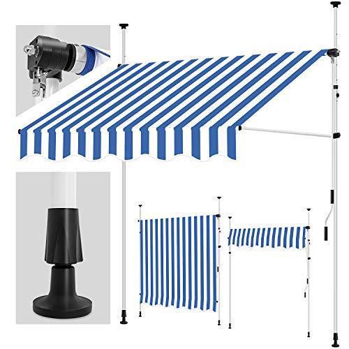 tillvex Klemmmarkise 400 cm Blau-Weiß mit Handkurbel Balkon | Balkonmarkise ohne Bohren | Markise UV-beständig & höhenverstellbar | Sonnenschutz wasserdicht