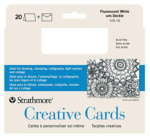 Strathmore 105-16-1 Creative Cards and Envelopes, 5' x 6.875', Fluorescent White/Deckle, 20 Pack