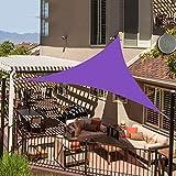 3x3x3 Metros Toldo Vela de Sombra Triangular Paño Oxford Encriptado Capa Impermeable Plateada Anti-UV Borde Resistente Al Desgarro Marquesina de Protección Solar,Deep Purple