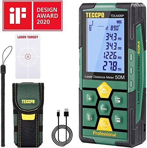 Telémetro láser 50m, USB 30mins Carga rápida, TECCPO Medidor Láser, Electrónico Ángulo Sensores, 99 Datos, 2.25\'\' LCD Retroiluminación, Medición de distancia, Área, Volumen, Trípode, IP54, TDLM26P