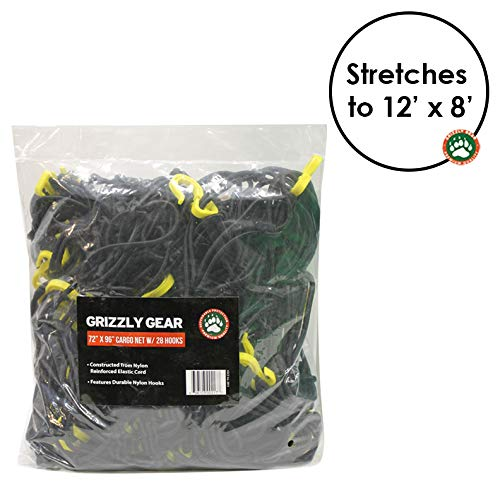 "Grizzly Gear Extra Large Bungee Cargo Net | Weatherproof Truck Bed/Trailer Net | 7"" Mesh Stretches to 12' x 8' 