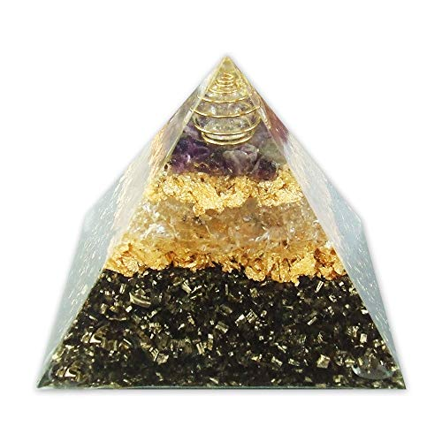 emotion & design Orgonit Pyramide - mit Amethyst, Bergkristall in Metallspirale und Messing