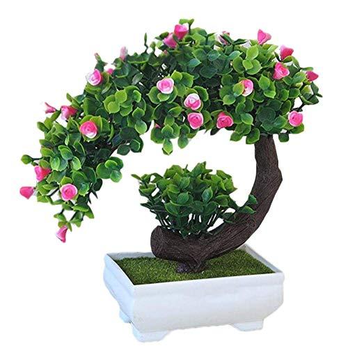 SuperglockT Kunstpflanze Rosenbaum klein Kunstbaum mit Rosenblüten im Topf Künstliche Pflanzen Kunstbonsai Kunststoff Zimmerpflanzen Hochzeit Deko 20cm Hohe (Rosa)