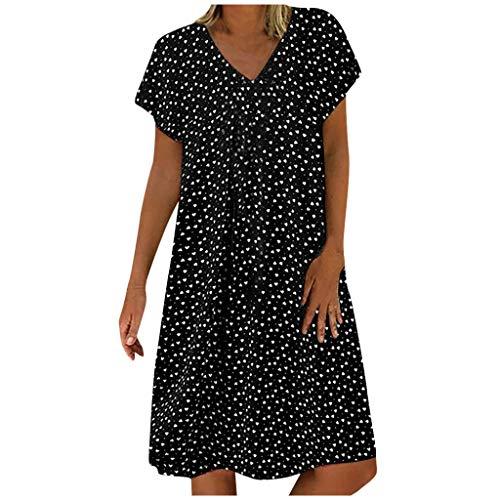 ReooLy Vestido sin Mangas con Cuello en V de Verano para Mujer(F-Negro,XL)