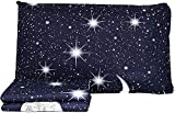 EmporioHome Bettwäsche-Set Mond Sterne Planetario Blau – superweiches Bettlaken aus 100 prozent reiner Baumwolle (Einzelbett)