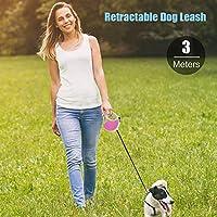 Entweg 引き込み式の犬の鎖、引き込み式の犬の鎖滑り止めハンドル付きの歩行用鎖片手ブレーキ付きの犬の訓練用鎖片手ブレーキ付き3メートルトレーニングキャンプの裏庭に最適