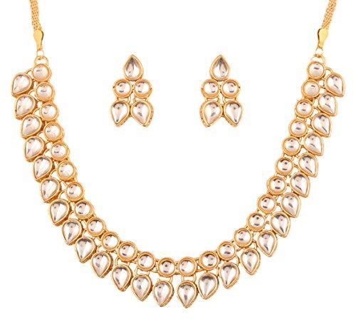 Touchstone Indische Bollywood traditionelle Mughal Kundan Polki Look neutral Braut Designer Schmuck Halskette Set für Damen Gold