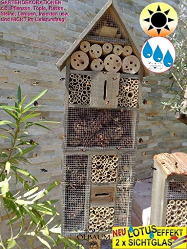 BTV 1x XXL Insektenhotel, mit Lotus+2xBrutröhrchen, Bienenhaus Spitzdach HOCH, mit Standfuß UND TRÄNKE insektenhotel groß 150 cm schwarz kleines Vogelhaus Meisen Nistkasten