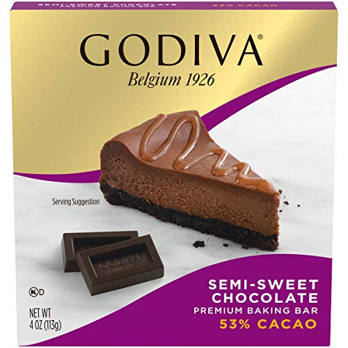GODIVA Semi Sweet Chocolate Premium Baking Bar (4 oz Box, Pack of 12)