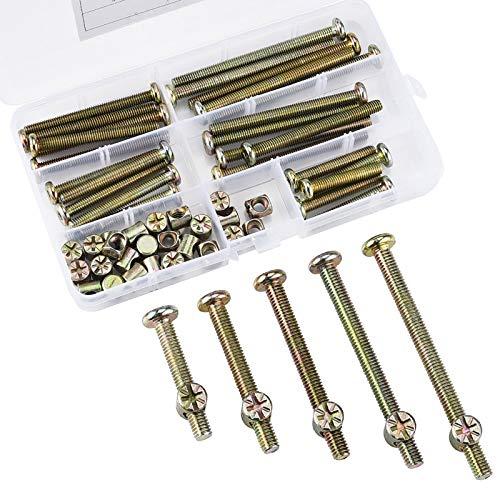 60 piezas M6 x 40/50/60/70/80 mm Tornillos cilíndricos hexagonales cincados Kit de...