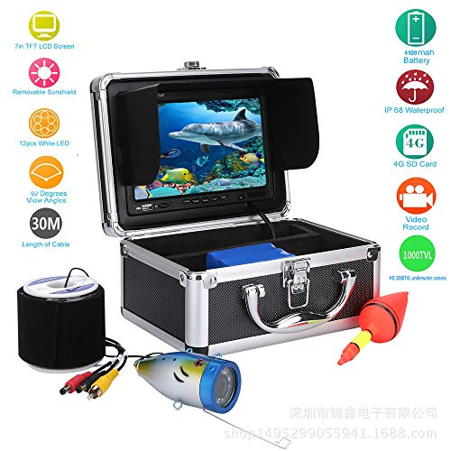 OUYAWEI Underwater Fishing Camera - 7 Inch Monitor, Waterproof Cold-Resistant, 30m Cable, Hard Carrying Case