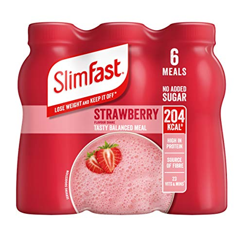 SlimFast Shake Multipack, Strawberry, 6 x 325 ml, Packaging May Vary