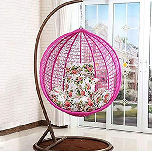 QPALB Sillas Colgantes Mimbre 196 * 106cm con Cojín de Color para Interior y Exterior Sillon Colgante Jardin 150kg-Mi