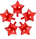 50 Pcs 10'' Red Star Shaped Balloons Foil Balloons Mylar Balloons for Baby Shower, Wedding, Birthday or Engagement Party Decoration (Red)