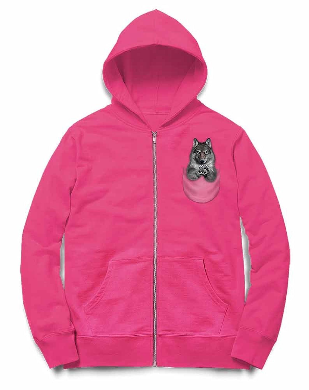 Fox Republic ポケット オオカミ ピンク キッズ パーカー シッパー スウェット トレーナー 150cm
