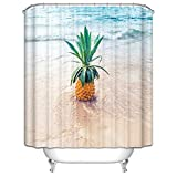Beydodo Bad Vorhang für Badezimmer Ananas am Strand Lustiger Wasserdicht Duschvorhang Antischimmel 165x200CM