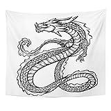 Tapestry Asian of Black Chinese Dragon con largo Scaly Tail Sketch - Escuadra de Japanese japonés para decoración de pared, para el hogar o el hogar de la casa, 50 x 60 pulgadas