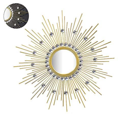 Azyq 2020 Espejos de Pared, Espejo de Pared Decorativo con Forma de Rayos de Sol de Metal, Comedor, Sala de Estar, Espejo Colgante de Forma de Estrella Decorativa de Porche de Pasillo, 80Cm,70Cm