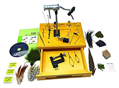Creative Angler Wooden Fly Tying Station with Rotary Vise, Fly Tying Tools, and Fly Tying Materials