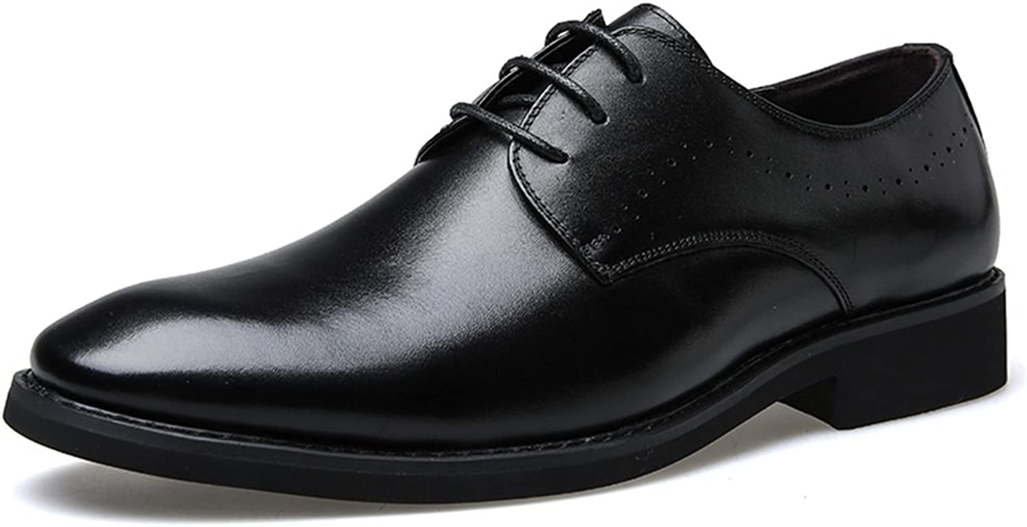 Men's shoes Leather Spring Fall Lace-up Driving shoes Breathable Comfort Casual Formal Business Work Black (color   A, Size   39)