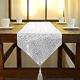Camino de mesa ShinyBeauty de lino con lentejuelas...