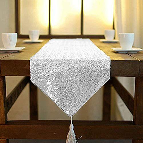 ShinyBeauty Tischläufer mit Quaste schimmerndes 30 x 180 cm mit Glitzer und runden Pailletten Tischläufer für Party Hochzeit Bankett Tischdecke dekorativ (Silber, 30x180cm)