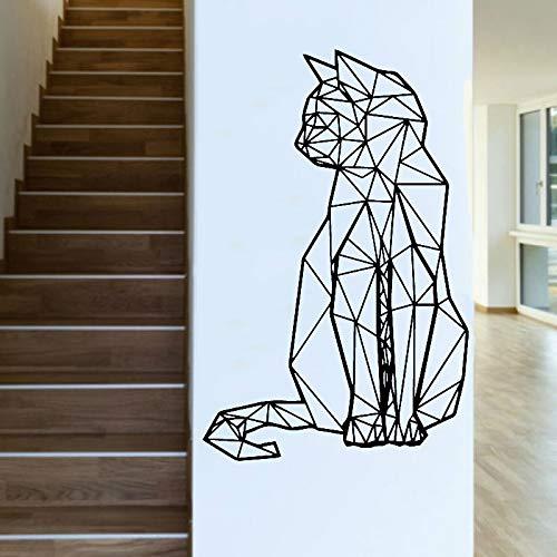 wZUN Pegatinas de Pared de Gato geométricas calcomanías de Vinilo para Mascotas decoración de la Pared de la habitación de los niños Tienda de Mascotas gabinete extraíble 63X96cm