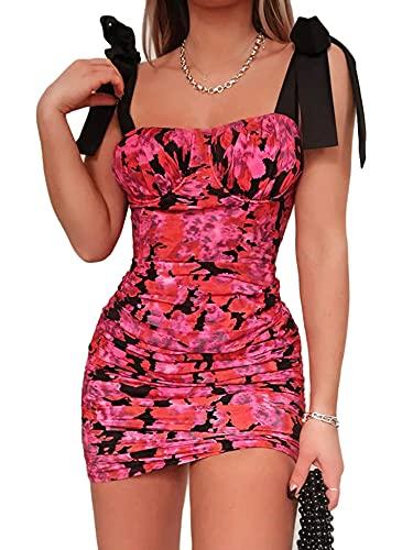 ZZLBUF Damen Sexy Bodycon Rüschen Tank Minikleid Ärmellos Kordelzug Club Kleider Sommer Outfits (Rose Rot, Large)