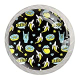 Doodle Funny Donuts Banana Rock Stars - Perillas para armarios de cocina, pomos de cristal para aparador, cajón, armario, con tornillos para gabinete, hogar, oficina, armario