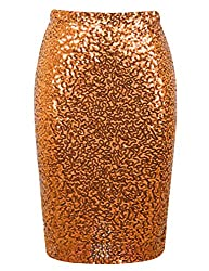 Orange Sequin High Waist Sparkle Pencil Skirt