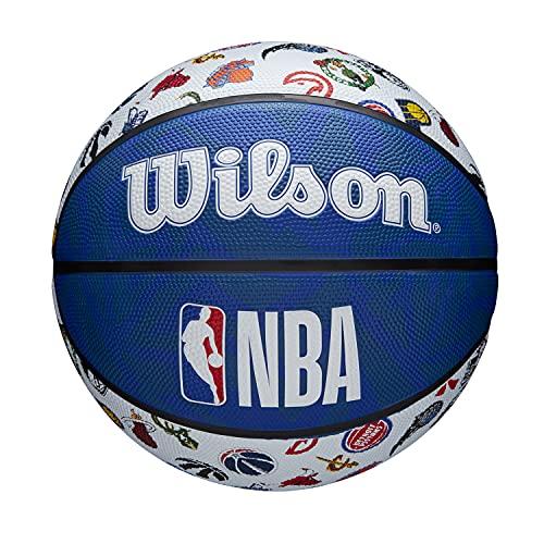 Wilson Pallone da Basket NBA ALL TEAM, Utilizzo Outdoor, Gomma, Misura: 7, Rosso/Bianco/Blu