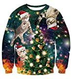 uideazone Men Women Christmas Pullover Sweatshirts 3D Funny Cat Ugly Xmas Sweater Shirts